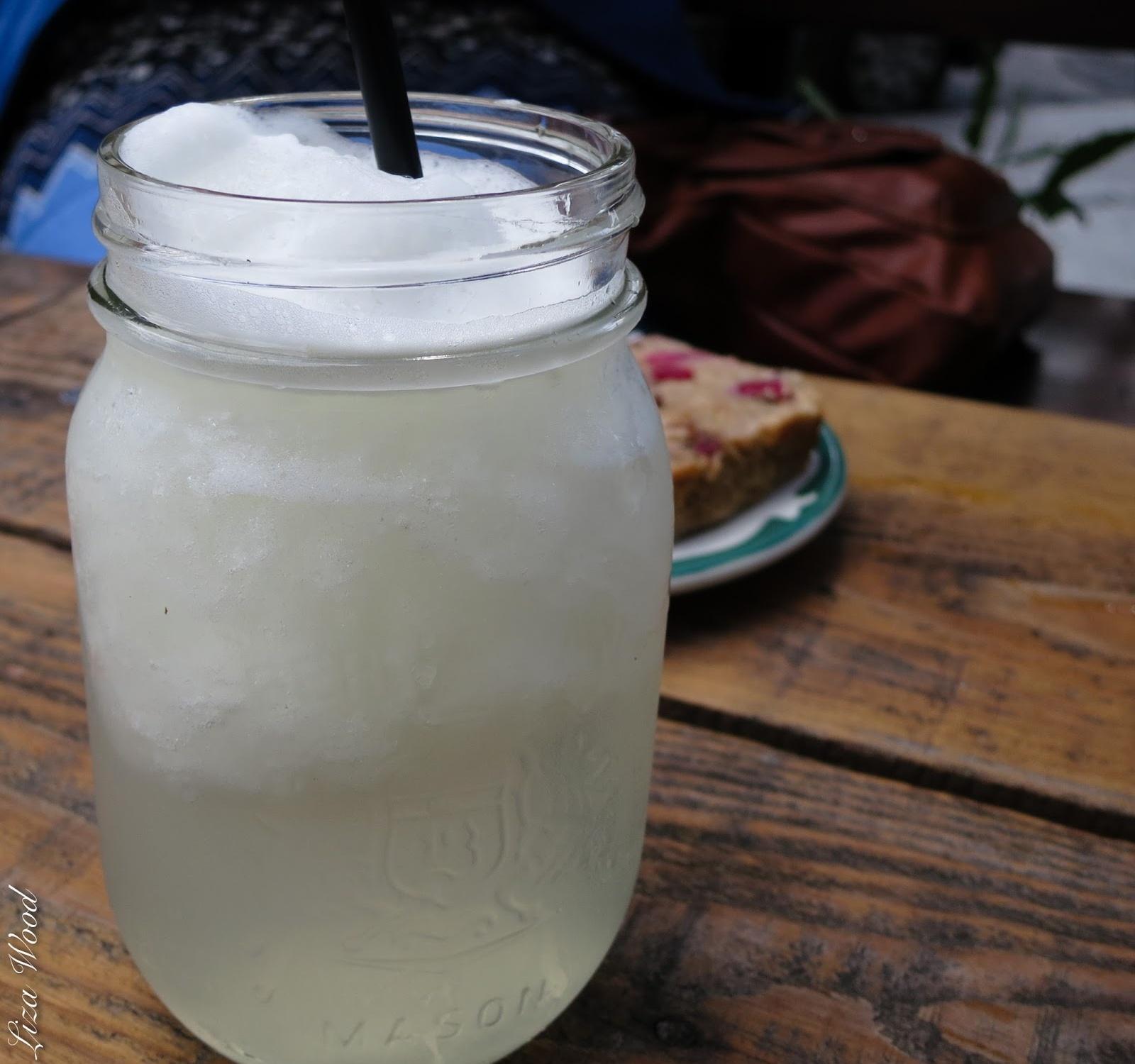 Lemonade mason jar on wooden table