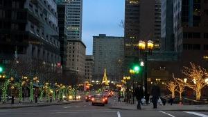 Christmas lights around trees downtown boulevard
