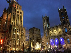 Christmas lights Notre Dame Basilica old montreal