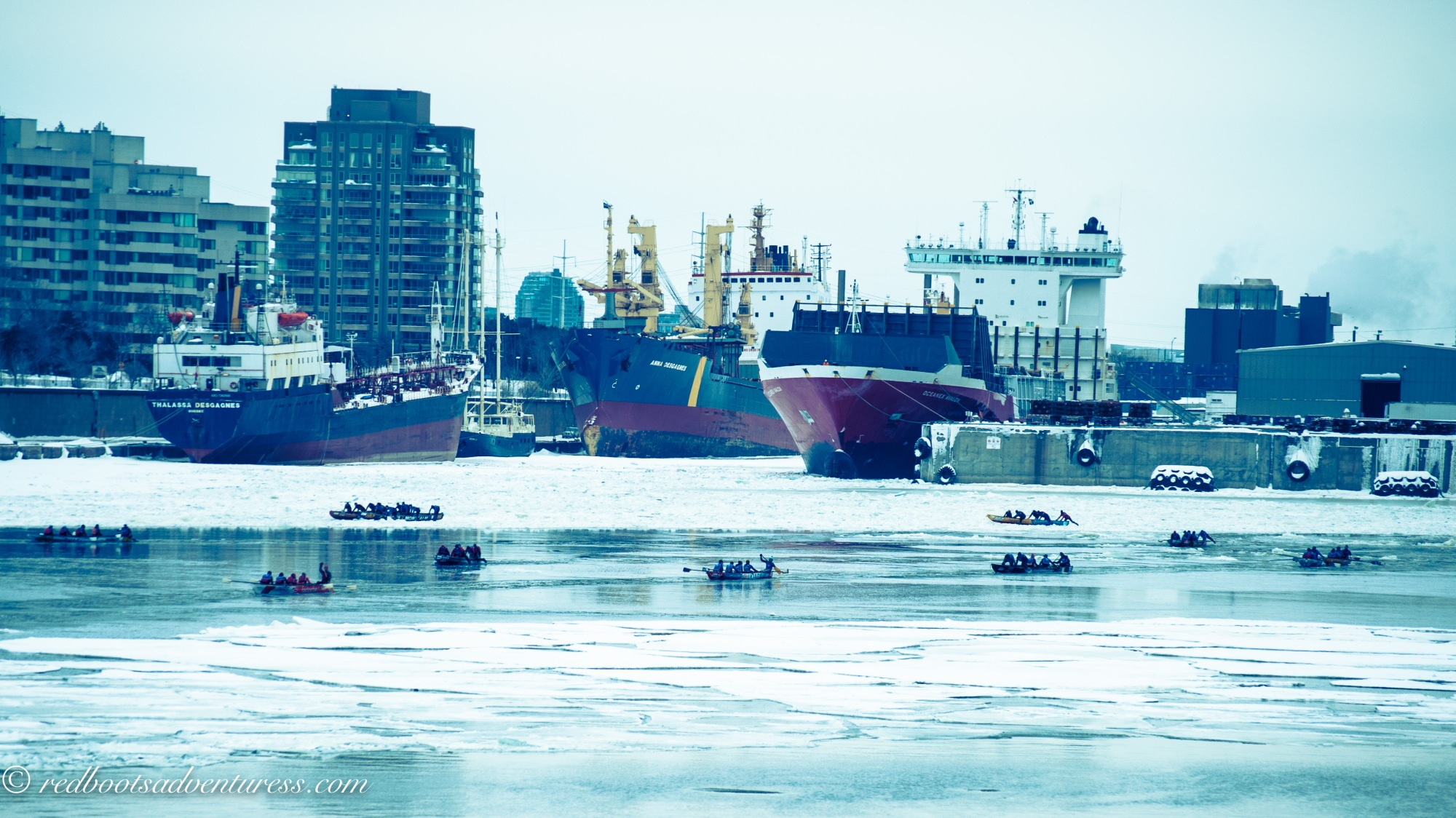 Ice Canoe Racing in Montreal's Old Port
