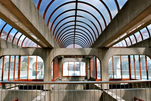 Concrete and glass architecture of Angrignon metro