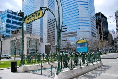 Old Parisian metro entrance at Square Victoria