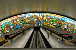 Tiled mural over the tracks at Papineau metro