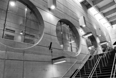 Round windows at De La Concorde metro station