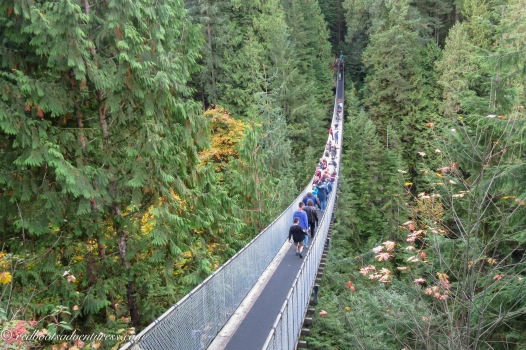 People crossing Capilano Suspension Bridge