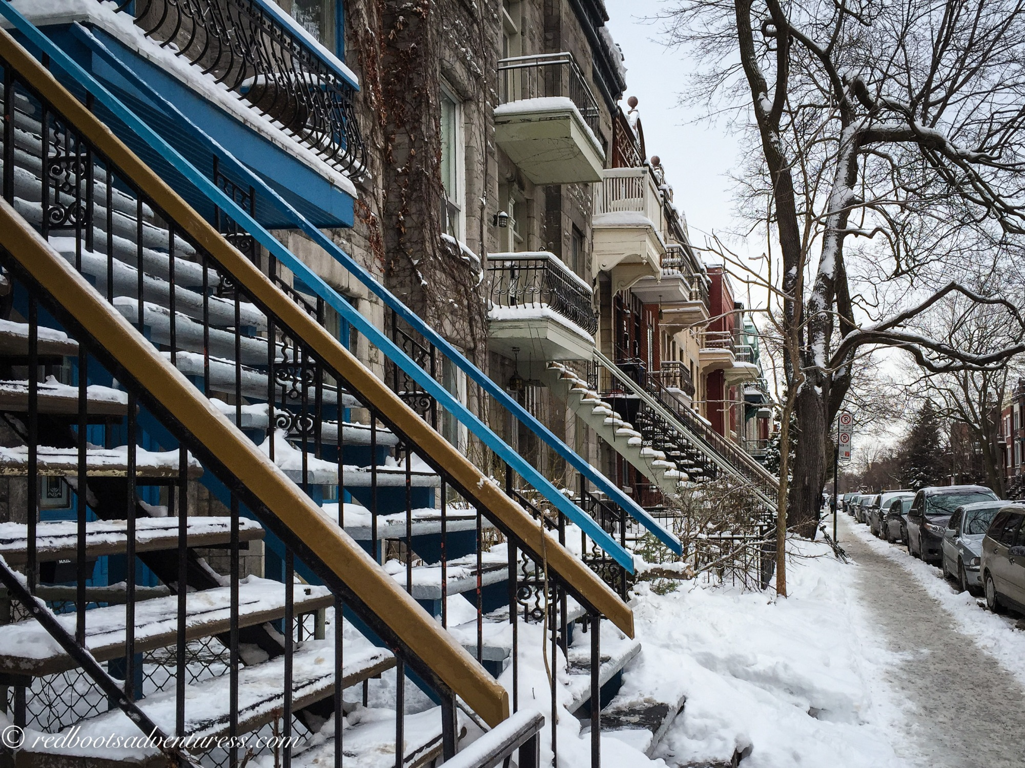 Stairs along a snowy sidewalk in Outremont