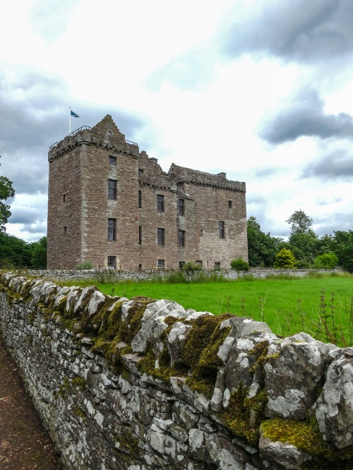 Scottish stone castle and wall
